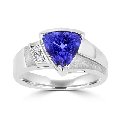 18k White Gold 1 7/8 ct Trillion-cut Tanzanite and Diamond (SI1-VS, G-H)  Ring