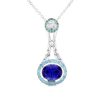 18k White Gold 3 5/8ctw TDW Pear-cut Tanzanite, Paraiba 2/5 ctw & Diamond 1/4ct TDW Pendant (SI1-SI2, G-H)