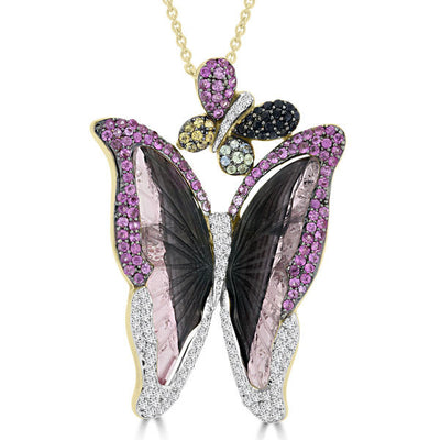 18k Yellow Gold 16 2/5ct Tourmaline Sapphire and Diamond Butterfly Necklace