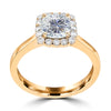 1.5ct TDW Cushion Cut Diamond Halo Ring 14K Gold