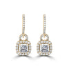 14k Asscher Cut Hinged Hoop Earrings