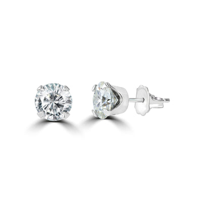 14 Karat  Solitaire Diamond Stud Earrings