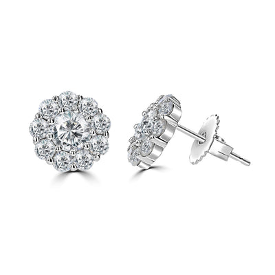 14k Floral Diamond Stud Earrings