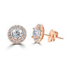 14k Halo Diamond Stud Earrings