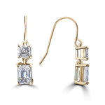 14k Emerald & Asscher Cut Drop Earrings