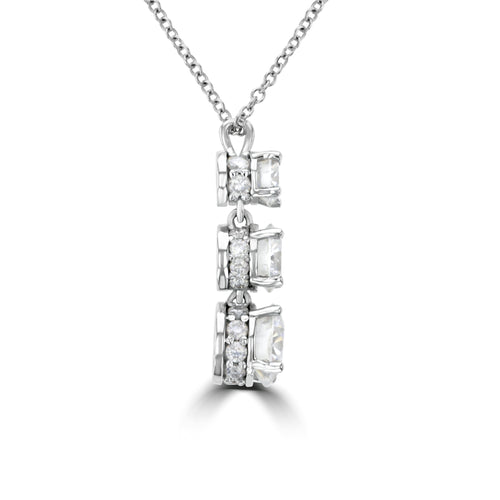14k Three-Stone Drop Diamond Necklace