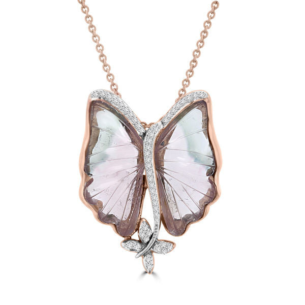 14k Rose Gold 12 1/2ct Natural Tourmaline and 1/5ct TDW Diamond Butterfly Necklace