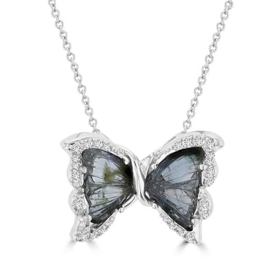 14k White Gold 3 1/10ct Tourmaline and 1/5ct TDW Diamond Butterfly Pendant
