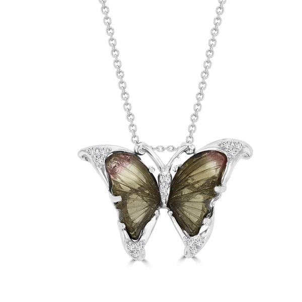 14k White Gold 4ct Natural Tourmaline and 1/10ct TDW Diamond Butterfly Pendant