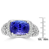 18K White Gold Tanzanite 3.40cts and Diamond 0.22ct TDW (SI1-VS, G-H) Ring