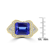 18K Yellow Gold Tanzanite 4.10cts and Diamond 0.52ct TDW (SI1-VS, G-H) Ring