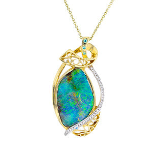Yellow Gold 14k Aus Boulder Opal 7.41cts & Diamond 0.25ct Tdw Ring Necklace