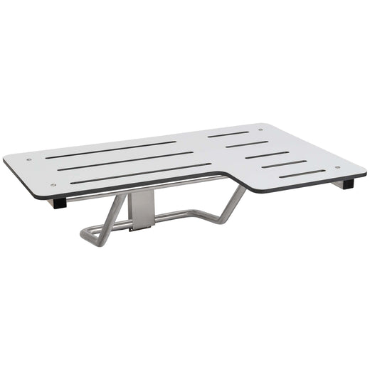 Image Of Folding Shower Bench -  Left Handed -  Phenolic Seat -  ADA Compliant - Satin Stainless Steel Finish - Harney Hardware