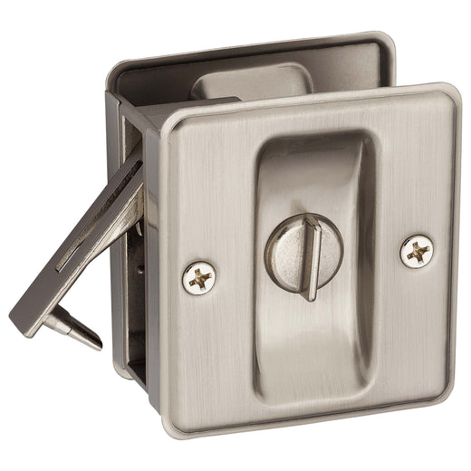 Image Of Pocket Door Lock -  Privacy -  Solid Brass -  2 1/2 In. X 2 3/4 In. - Satin Nickel Finish - Harney Hardware