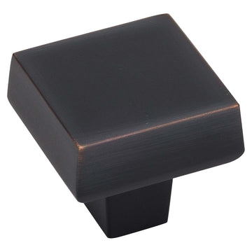 Image Of Cabinet Knob -  Contemporary Square -  1 5/16 In. Wide - Venetian Bronze Finish - Harney Hardware