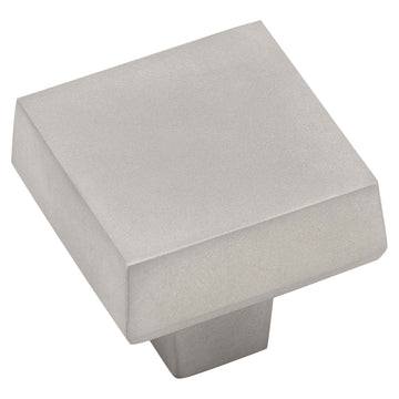 Image Of Cabinet Knob -  Contemporary Square -  1 5/16 In. Wide - Satin Nickel Finish - Harney Hardware