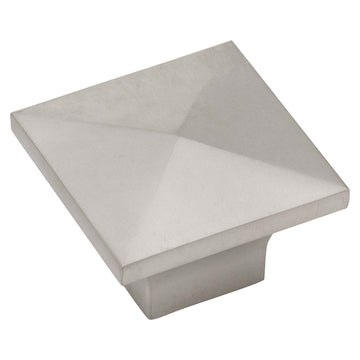 Image Of Cabinet Knob -  Pyramid Square -  1 1/4 In. Wide - Satin Nickel Finish - Harney Hardware