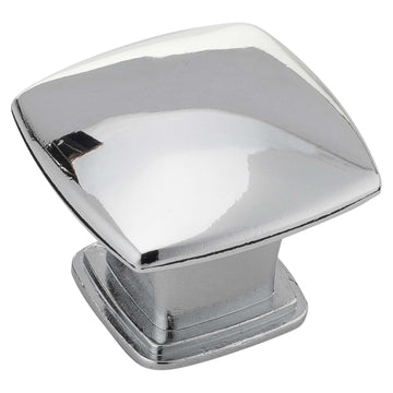 Image Of Cabinet Knob -  Pyramid Square -  1 3/16 In. Wide - Chrome Finish - Harney Hardware