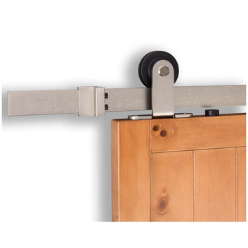 Image Of Barn Door Hardware -  Top Mount Kit - Satin Nickel Finish - Harney Hardware