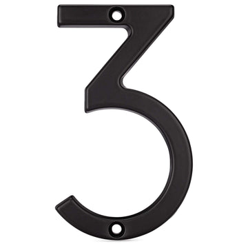 Image Of 4 In. Contemporary House Number 3 - Matte Black Finish - Harney Hardware