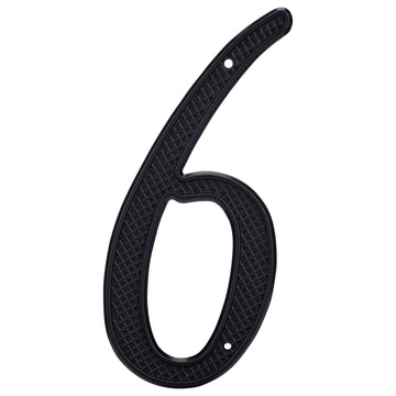 Image Of 4 In. Nail On House Number 6 - Black Finish - Harney Hardware