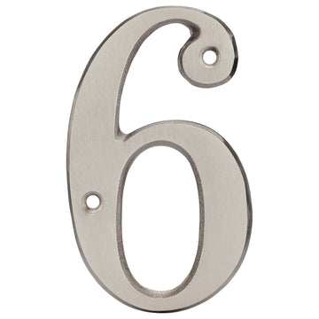 Image Of 4 In. House Number 6 -  Solid Brass - Satin Nickel Finish - Harney Hardware