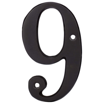 Image Of 4 In. House Number 9 -  Solid Brass - Oil Rubbed Bronze Finish - Harney Hardware