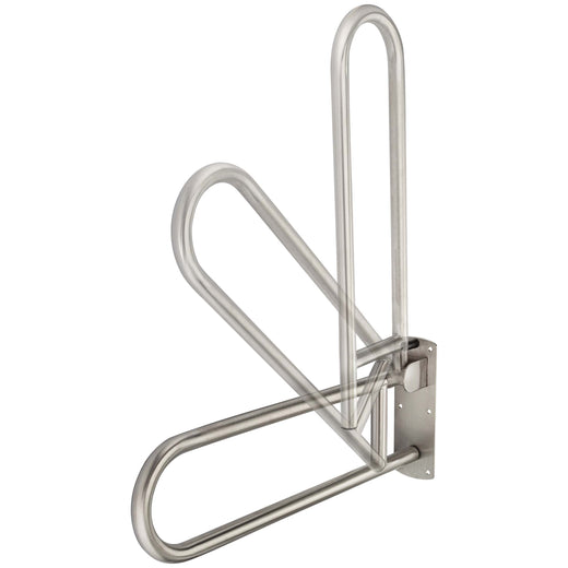 Image Of Bathroom Swing Up Grab Bar -  Peened Surface -  30 In. X 1 1/4 In. - Satin Stainless Steel Finish - Harney Hardware
