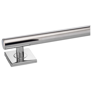 Image Of Bathroom Grab Bar -  Contemporary -  Square Escutcheon -  12 In. X 1 1/4 In. - Polished Stainless Steel Finish - Harney Hardware