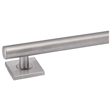 Image Of Bathroom Grab Bar -  Contemporary -  Square Escutcheon -  12 In. X 1 1/4 In. - Satin Stainless Steel Finish - Harney Hardware