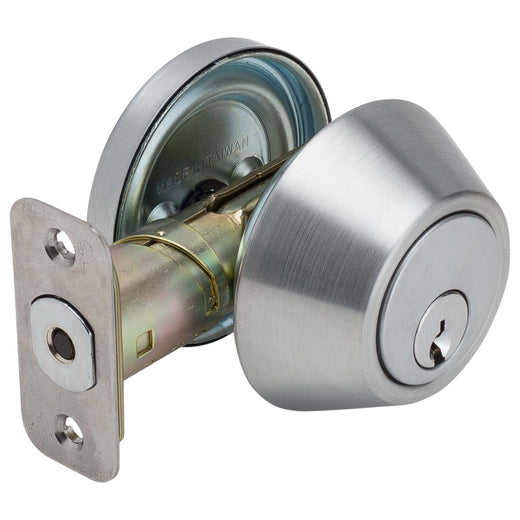 Image Of Atlas Light Duty Commercial Deadbolt -  Single Cylinder -  UL Fire Rated -  ANSI 2 - Satin Chrome Finish - Harney Hardware
