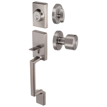 Image Of Brooklyn Contemporary Handleset With Interior Door Knob - Satin Nickel Finish - Harney Hardware