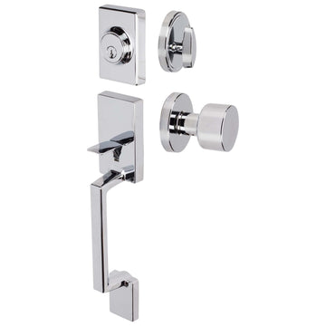 Image Of Brooklyn Contemporary Handleset With Interior Door Knob - Chrome Finish - Harney Hardware