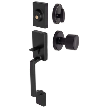 Image Of Brooklyn Contemporary Handleset With Interior Door Knob - Matte Black Finish - Harney Hardware