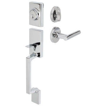 Image Of Riley Handleset With Interior Reversible Lever - Chrome Finish - Harney Hardware
