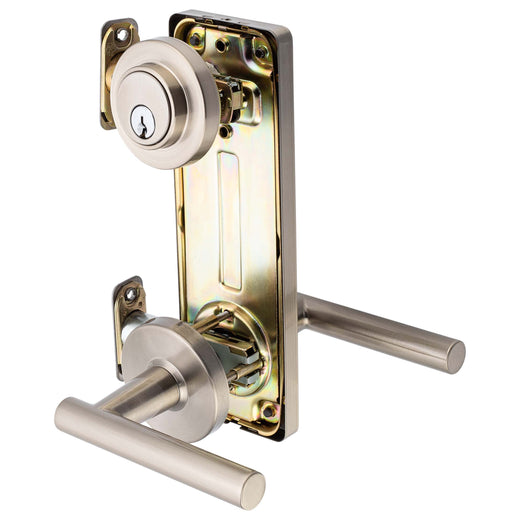 Image Of Riley Interconnected Lock -  Reversible Passage Lever -  UL Fire Rated -  ANSI 2 - Satin Nickel Finish - Harney Hardware