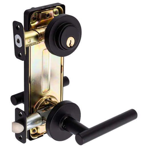 Image Of Riley Interconnected Lock -  Reversible Passage Lever -  UL Fire Rated -  ANSI 2 - Matte Black Finish - Harney Hardware