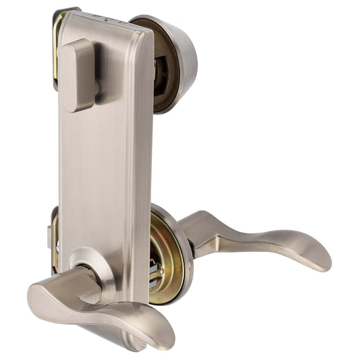 Image Of Dakota Interconnected Lock -  Left Handed Passage Lever -  UL Fire Rated -  ANSI 2 - Satin Nickel Finish - Harney Hardware