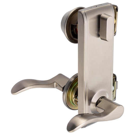 Image Of Dakota Interconnected Lock -  Right Handed Passage Lever -  UL Fire Rated -  ANSI 2 - Satin Nickel Finish - Harney Hardware