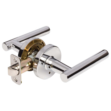 Image Of Riley Bed / Bath / Privacy Contemporary Door Lever Set - Chrome Finish - Harney Hardware