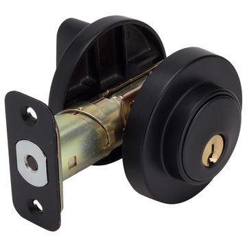 Image Of Keyed Single Cylinder Contemporary Deadbolt -  Round Escutcheon - Matte Black Finish - Harney Hardware