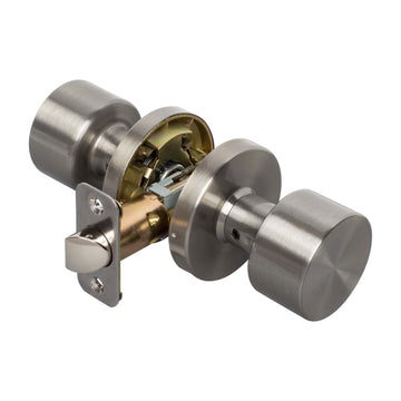 Image Of Brooklyn Closet / Hall / Passage Contemporary Door Knob Set - Satin Nickel Finish - Harney Hardware