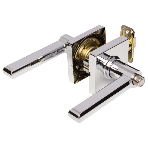Image Of Harper Bed / Bath / Privacy Contemporary Door Lever Set - Chrome Finish - Harney Hardware