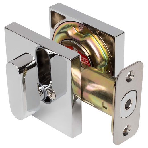 Image Of Keyed Single Cylinder Contemporary Deadbolt -  Square Escutcheon - Chrome Finish - Harney Hardware