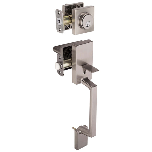 Image Of Harper Handleset With Interior Reversible Lever - Satin Nickel Finish - Harney Hardware