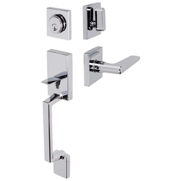 Image Of Harper Handleset With Interior Reversible Lever - Chrome Finish - Harney Hardware