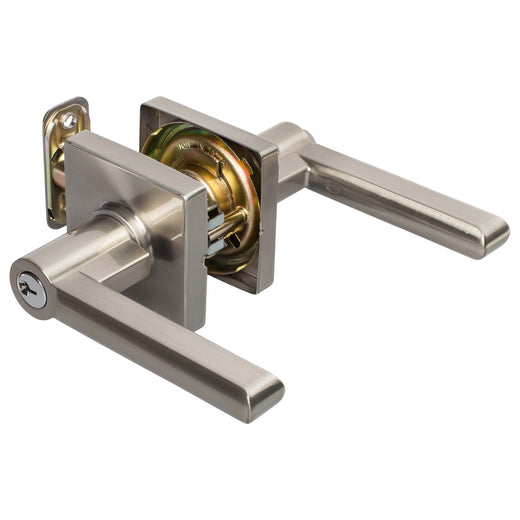 Image Of Harper Keyed / Entry Contemporary Door Lever Set - Satin Nickel Finish - Harney Hardware