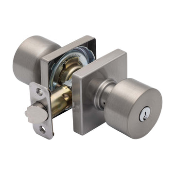 Image Of Oaklyn Keyed / Entry Contemporary Door Knob Set - Satin Nickel Finish - Harney Hardware