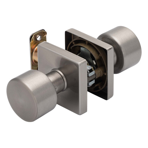 Image Of Oaklyn Closet / Hall / Passage Contemporary Door Knob Set - Satin Nickel Finish - Harney Hardware