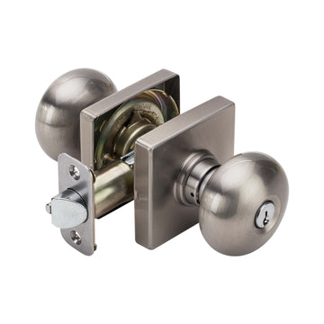 Image Of Kendall Keyed / Entry Door Knob Set - Satin Nickel Finish - Harney Hardware
